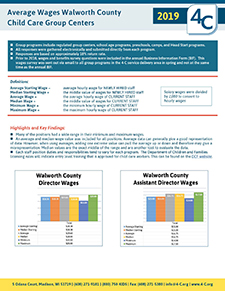 Walworth County Average Wages Child Care Group Centers 2019
