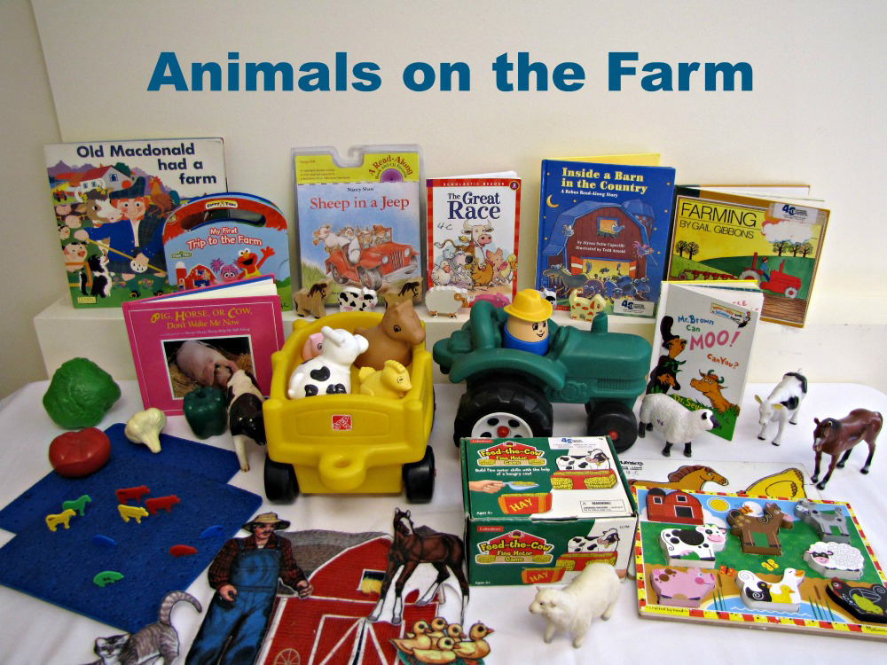 """An example of an """"Animals on the Farm"""" themed toy kit including books and toys that teach about different animals"""