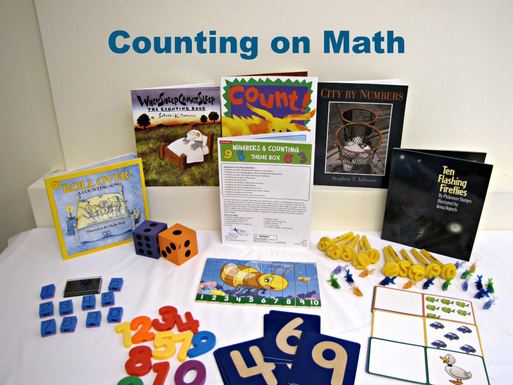 """An example of a """"Counting on Math"""" themed back pack with books and activities about math"""