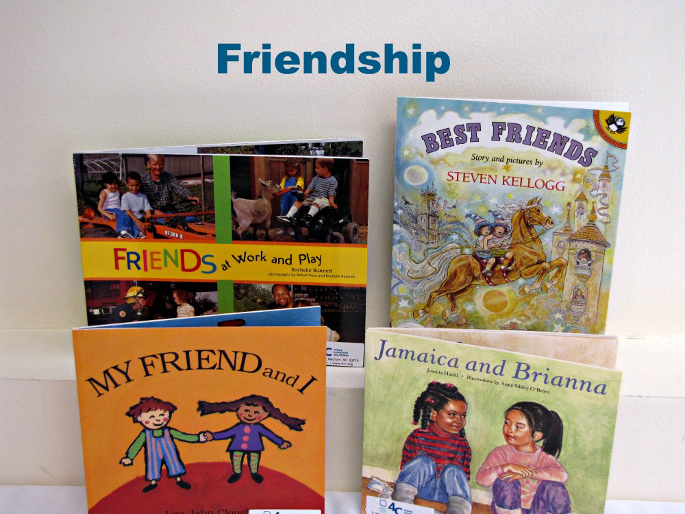 An example of a book kit showing four books on Friendship.
