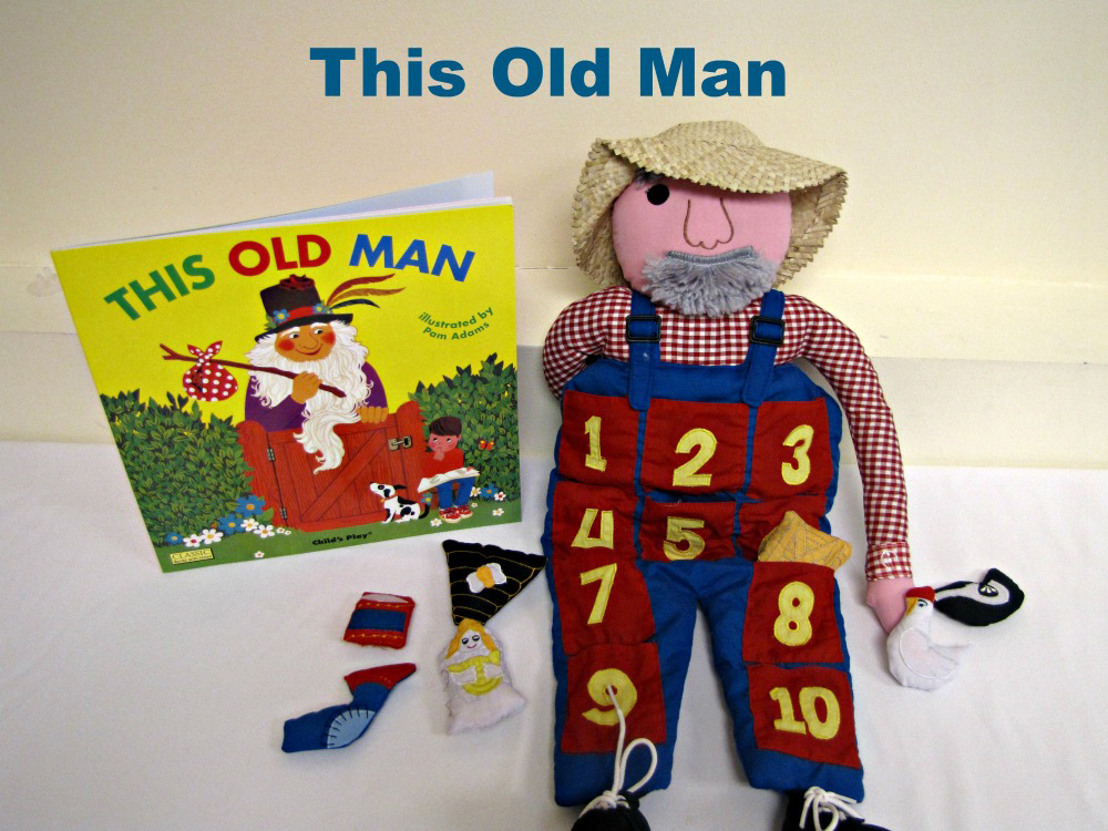 """""""This Old Man"""" book with and old man doll prop"""