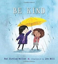 "Book cover of ""Be Kind"" with a girl holding a yellow umbrella over another girl"