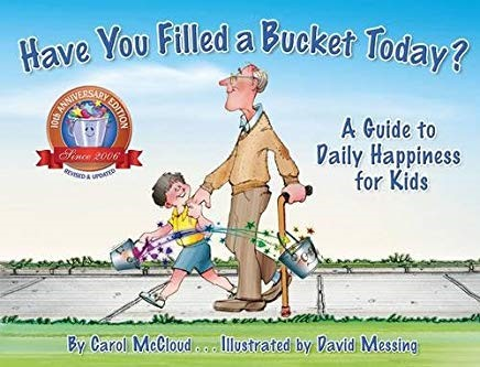 "Book cover of ""Have You Filled a Bucket Today?"" with a grandson holding his grandfathers hand"