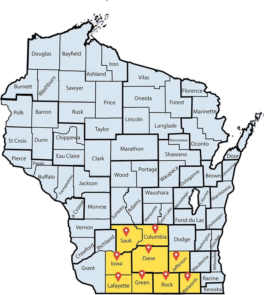 Map of Wisconsin highlighting Sauk, Columbia, Iowa, Dane, Jefferson, Lafayette, Green, Rock, and Walworth Counties