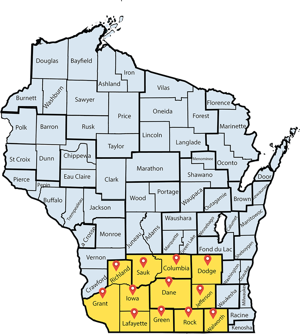 Map of Wisconsin highlighting Sauk, Columbia, Iowa, Dane, Jefferson, Grant, Lafayette, Green, Rock, and Walworth Counties